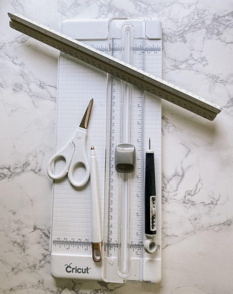 Cricut tool set, scissors, retractable weeding tool, cutter, ruler