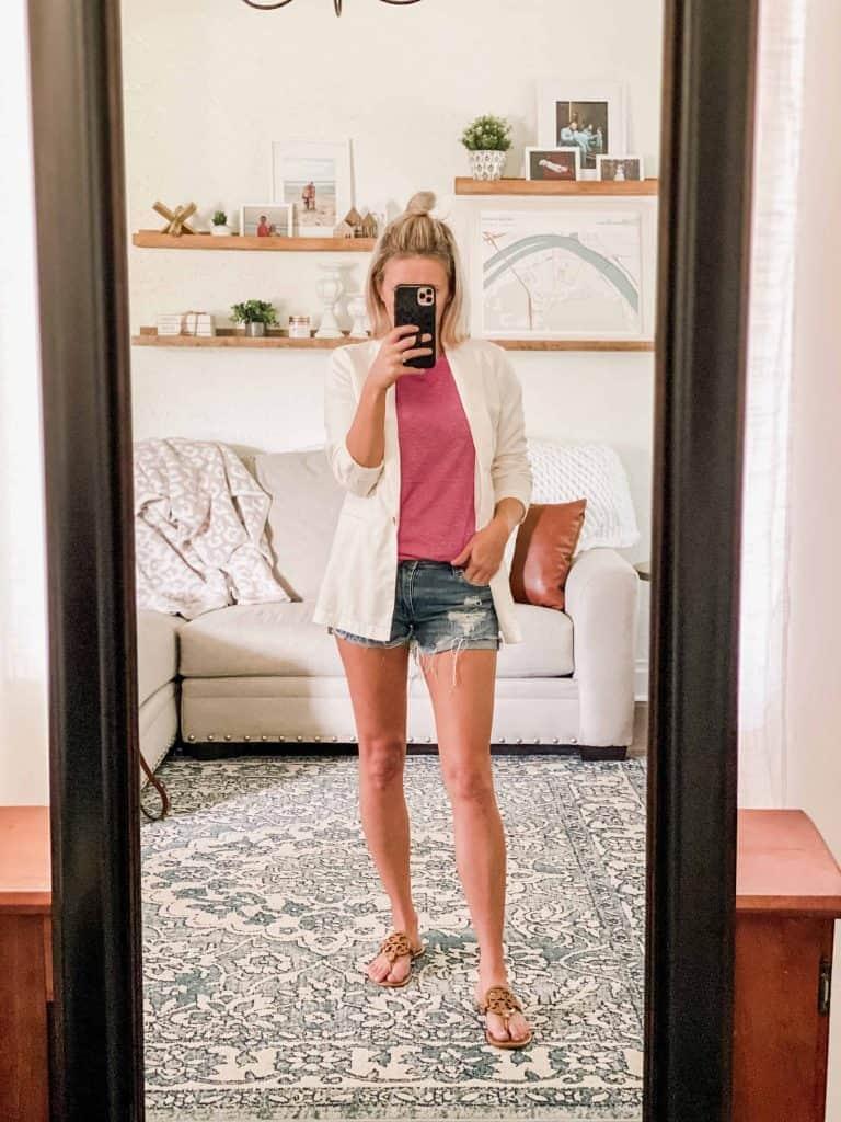 Woman with white blazer, pink tank, and shorts. mirror selfie Amazon prime wardrobe summer box