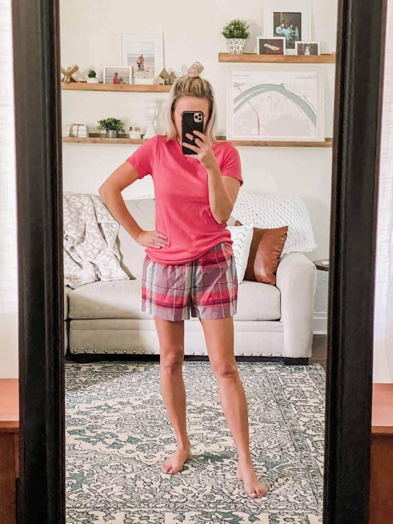 Woman mirror selfie with pink top and pink plaid shorts Amazon Prime Wardrobe Summer Edit