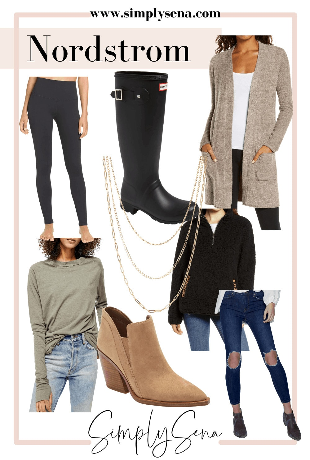 Leggings, hunter boots, barefoot dreams cardigan, long sleeve tee, jeans, brown booties, gold necklace