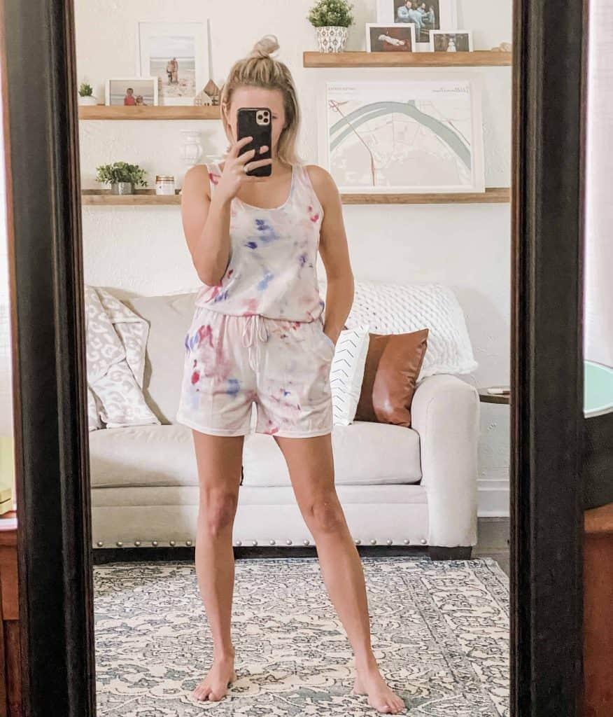 woman mirror selfie red, white, and blue romper Amazon Prime Wardrobe