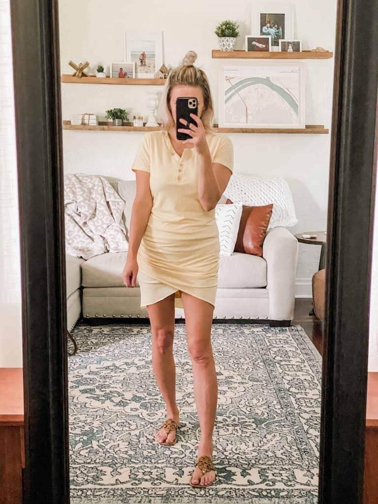 Woman in yellow tshirt dress, mirror selfie Amazon Prime Wardrobe summer edit