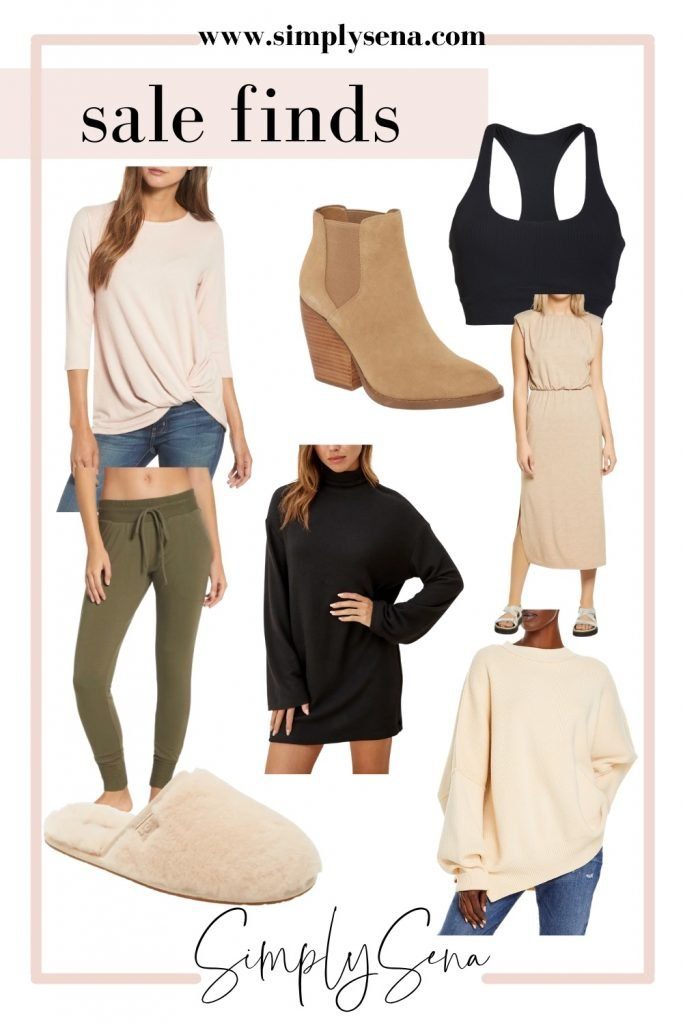 Tie front top, tan booties, sports bra, turtle neck dress, slippers, joggers