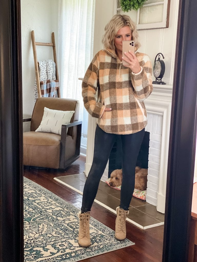 Amazon fall fashion, sherpa pull over, faux leather leggings, booties