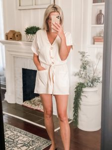 Amazon fashion short sleeve white romper with tie front
