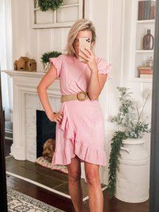 Pink summer dress with tan woven summer belt amazon fashion