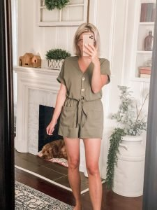 Amazon fashion short sleeve green romper with tie front