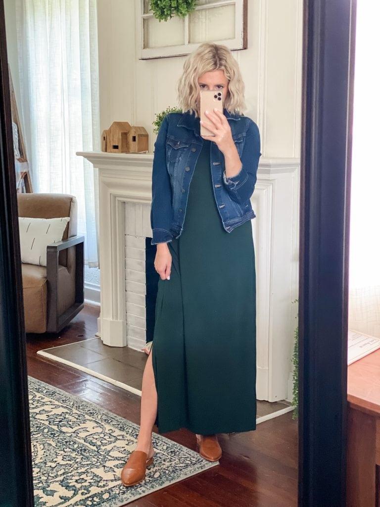 Amazon Fashion, maxi dress, jean jacket, cognac mules