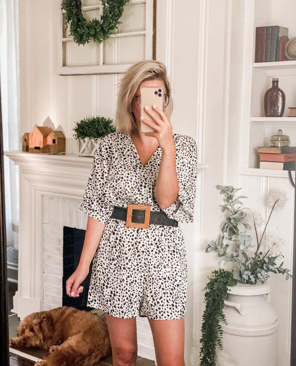 Amazon fashion short sleeve white and black polka dot romper black woven belt